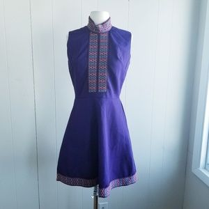 1960s ILGWU Purple Lined Poly Fit & Flare Dress